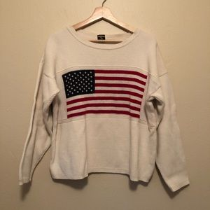 Vintage American Flag Woven Sweater